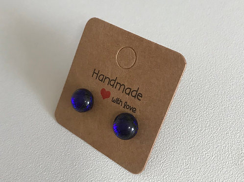 Fused glass midnight blue stud earrings on sterling silver
