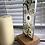 "Thumbnail: ""Ivory"" Flows free-standing glass light-catcher on oak base"