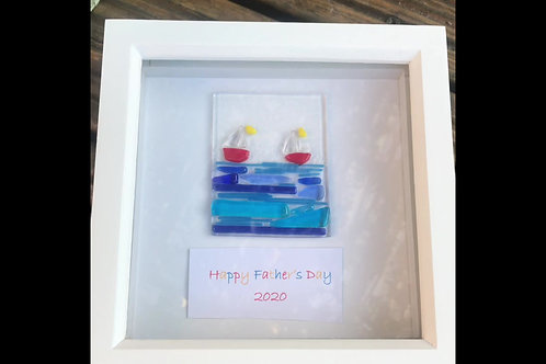 Fused Glass Framed Sea and Sail Boat Scene - Father's Day