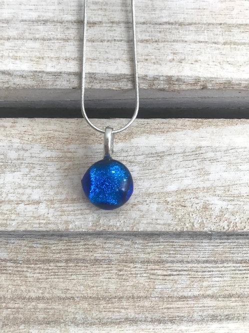 Fused glass blue pendant on  silver chain