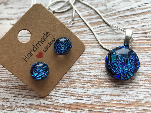 Cracked blue fused glass earrings and pendant