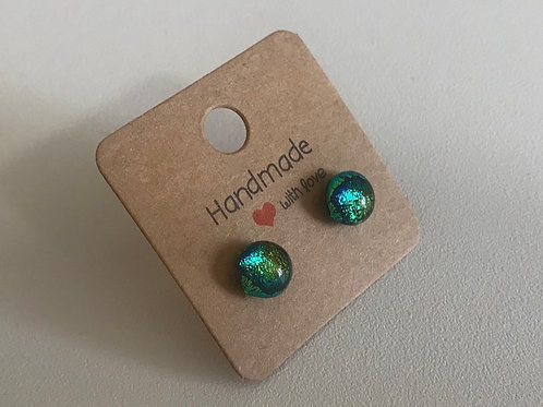 Fused glass green stud earrings on sterling silver