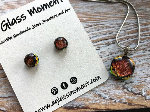 Golden Auburn copper fused glass earrings and pendant