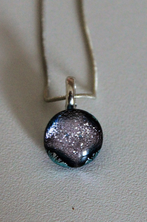 Pink dichroic fused glass pendant with chain