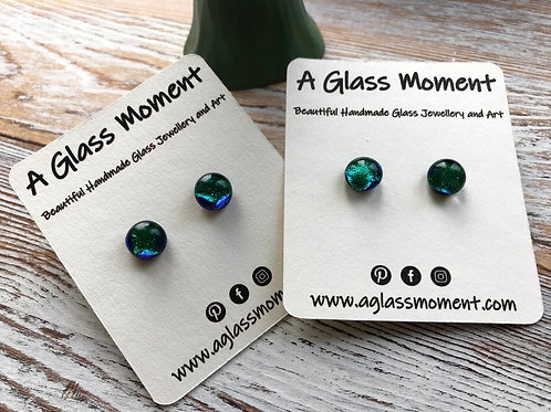 """""""The Greens"""" fused glass earrings on sterling silver"""