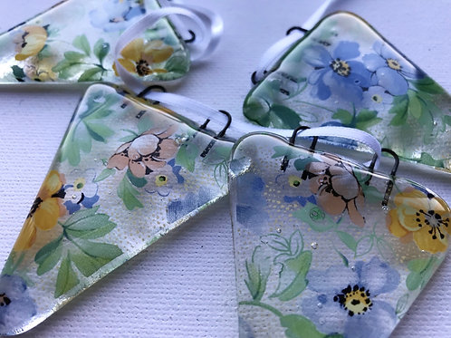 Blue and Yellow Floral Bunting