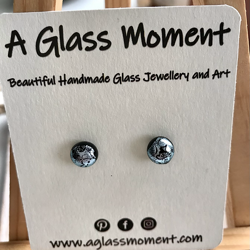 Silver fused glass earrings on sterling silver inclusions
