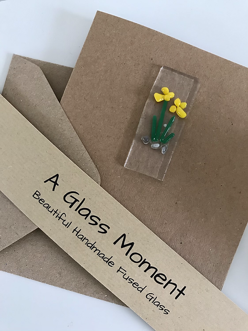 Fused Glass Daffodils card and envelope