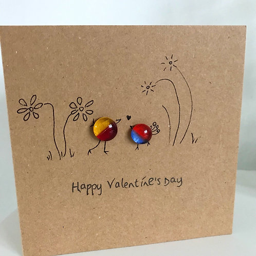 Fused Glass and Ink Valentine's Day card and envelope