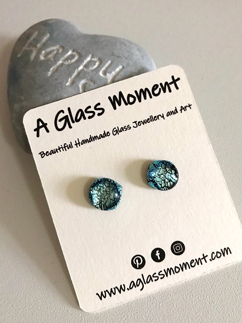"""""""The Silver Waters""""Fused glass stud earrings on sterling silver"""