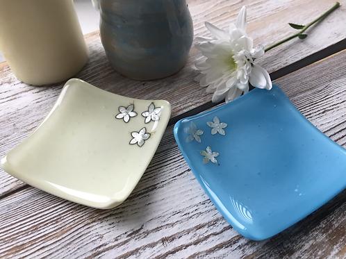 Silver Flower Fused Glass Trinket Dish