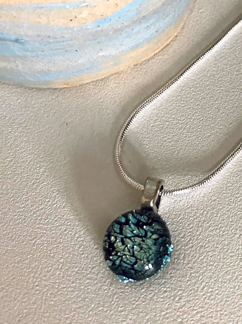 Fused glass silver slate pendant and chain