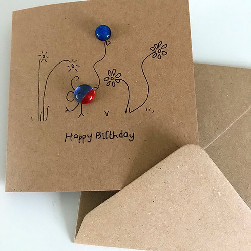 Fused Glass and Ink Happy Birthday card and envelope