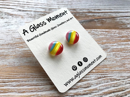 Fused glass rainbow stud earrings on sterling silver
