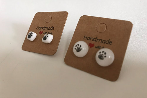 Fused Glass (Dog) Paw-print Ear-rings on sterling silver
