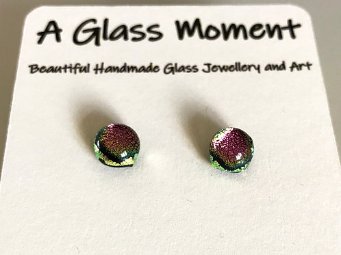 """In the pink"" fused glass earrings on sterling silver"