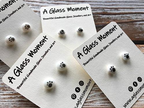 Paw print earrings on sterling silver