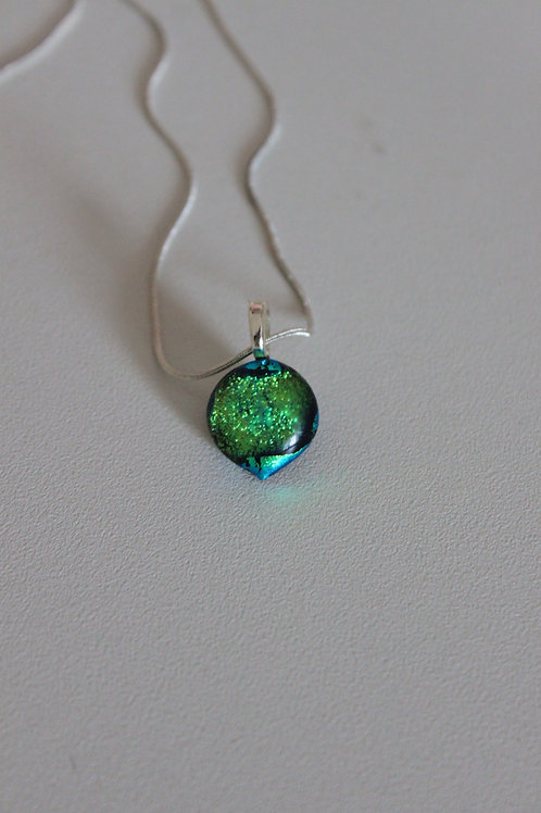 Fused Glass dichroic green pendant and chain