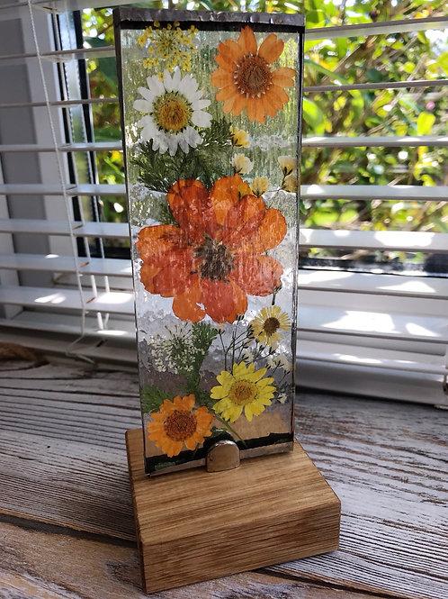 Wildflower freestanding Glass Light catcher - Oranges