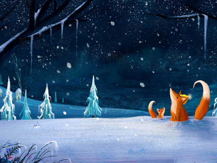 Snow Fall Foxes