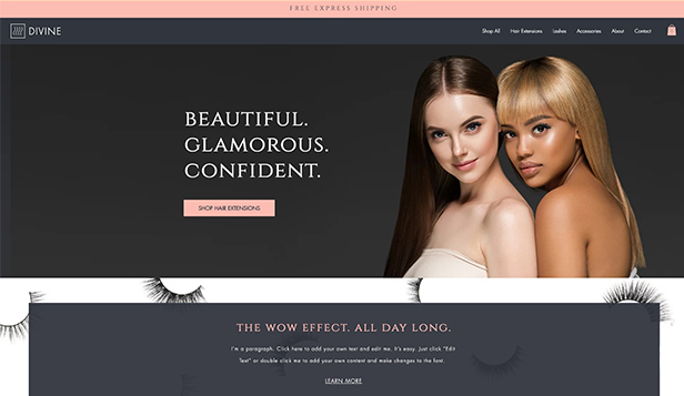 Mode och skönhet website templates – Hair Extension & Lash Store