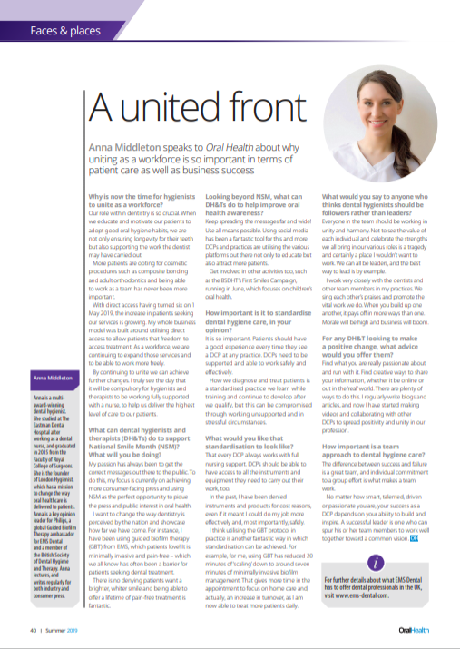 London Hygienist in Oral Health Mag