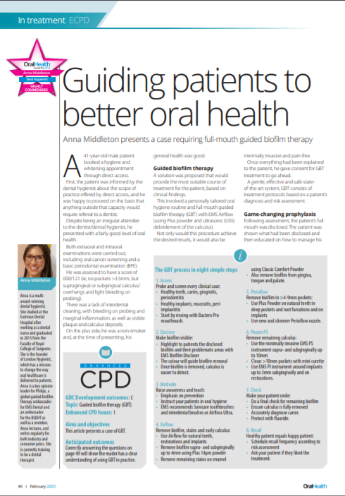 Anna Middleton in Oral Health Mag