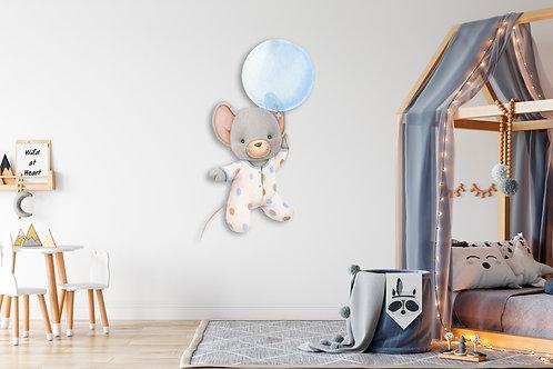 """Интерьерная наклейка """"Мышка мальчик с шариком"""""""