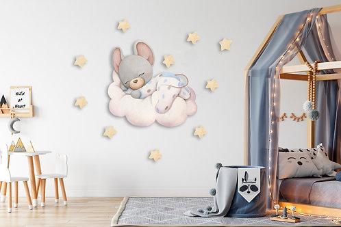 """Интерьерная наклейка """"Мышка мальчик на облаке"""""""