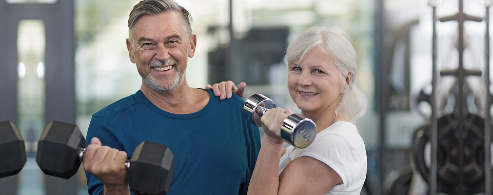 Senior adult couple happy over their sucess at Body by Design
