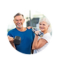 Senior couple ecstatic over their sucess with personal training