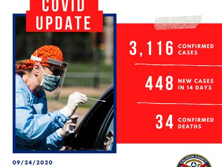 Calhoun County COVID-19 Update, 9/24/2020