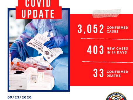 Calhoun County COVID-19 Update, 9/23/2020