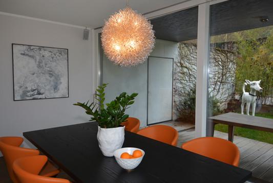 Table Dinner orange chandelier home Interior Design