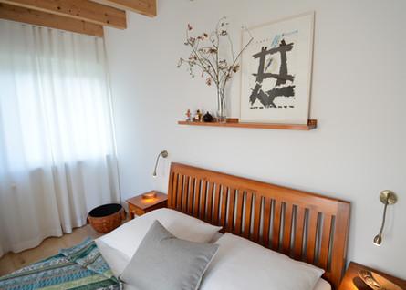Schlafzimmer Holzbett Japanische Kunst