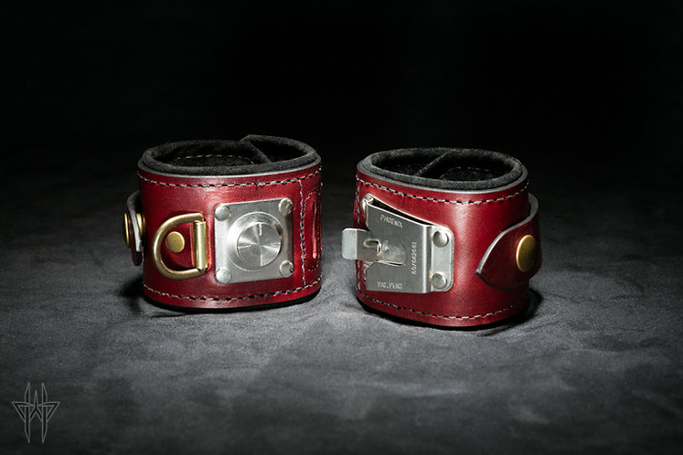 Slide-Lock Wrist Cuffs (Oxblood)