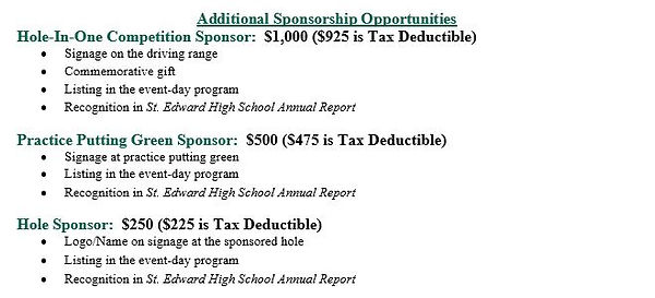 Golf Outing - Additional Sponsorship Opp