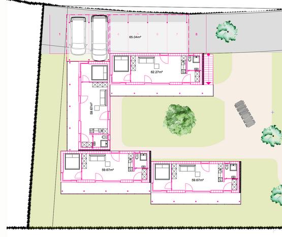 Grundriss Übersicht Minihäuser