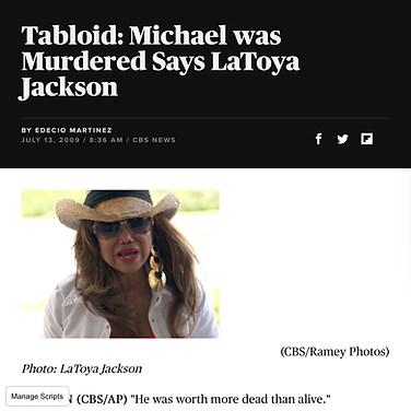CBS NEWS (Singer/ TV star La Toya Jackson)