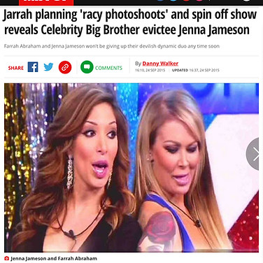MIRROR NEWSPAPER (Reality TV stars Farrah Abraham & Jenna Jameson)