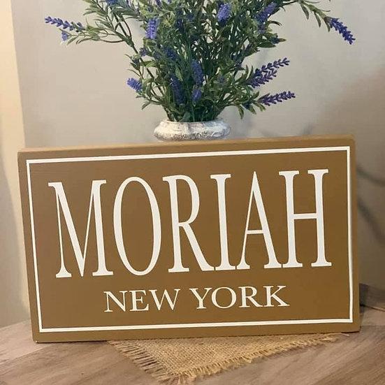 Moriah Wooden Sign
