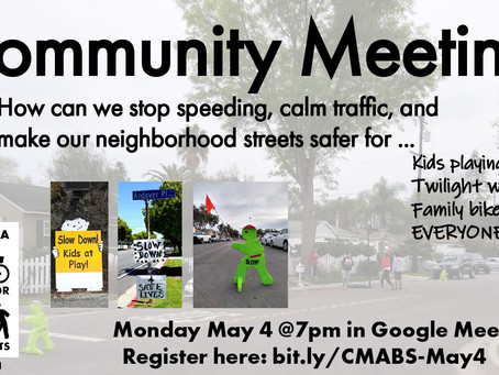 CMABS Community Meeting on Neighborhood Street Safety Monday May 4 at 7pm