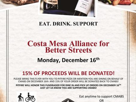 CMABS Holiday Pizza Social & Fundraiser: December 16, 7pm at Pitfire