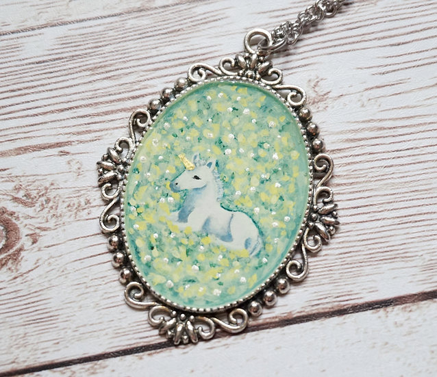 Unicorn Handpainted Necklace