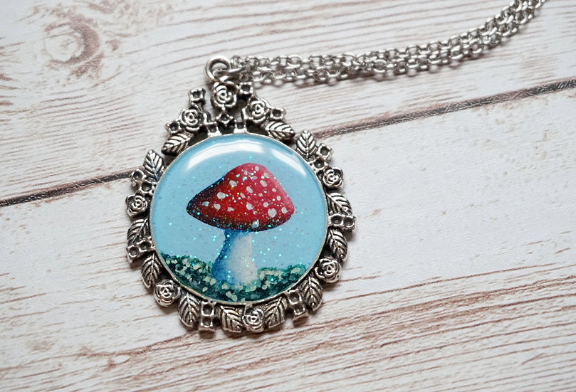 Small Red Toadstools Handpainted  Necklace