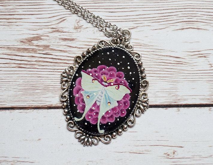 Luna Moth Handpainted  Necklace