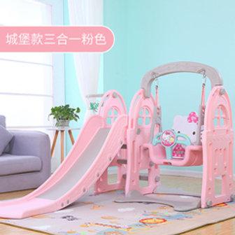 Swing and slide set with basketball hoop