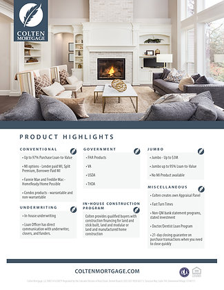 Colten Product Highlights Flyer