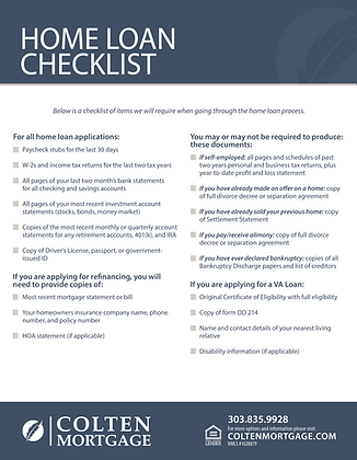 Home Loan Checklist Flyer