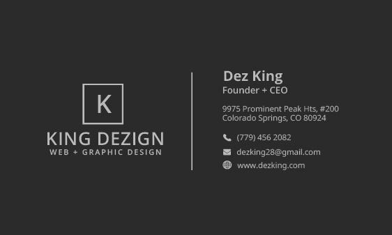 King Dezign Biz Card